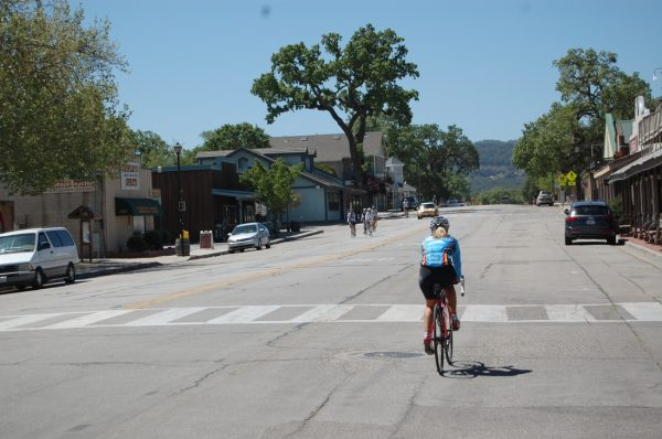 woman biking through paso robles